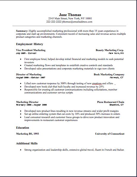 Example Of Resume Form Example Format Of Resume 7 Free Curriculum Vitae  Template Word .  Basic Resume Template Word