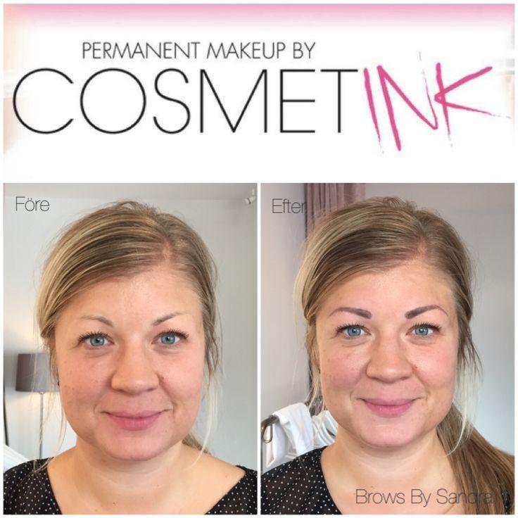 Tatuerade ögonbryn före & efter med 3D teknik. Pris: 4 500 kr inkl. refill inom 4-6 veckor.  www.cosmetink.se