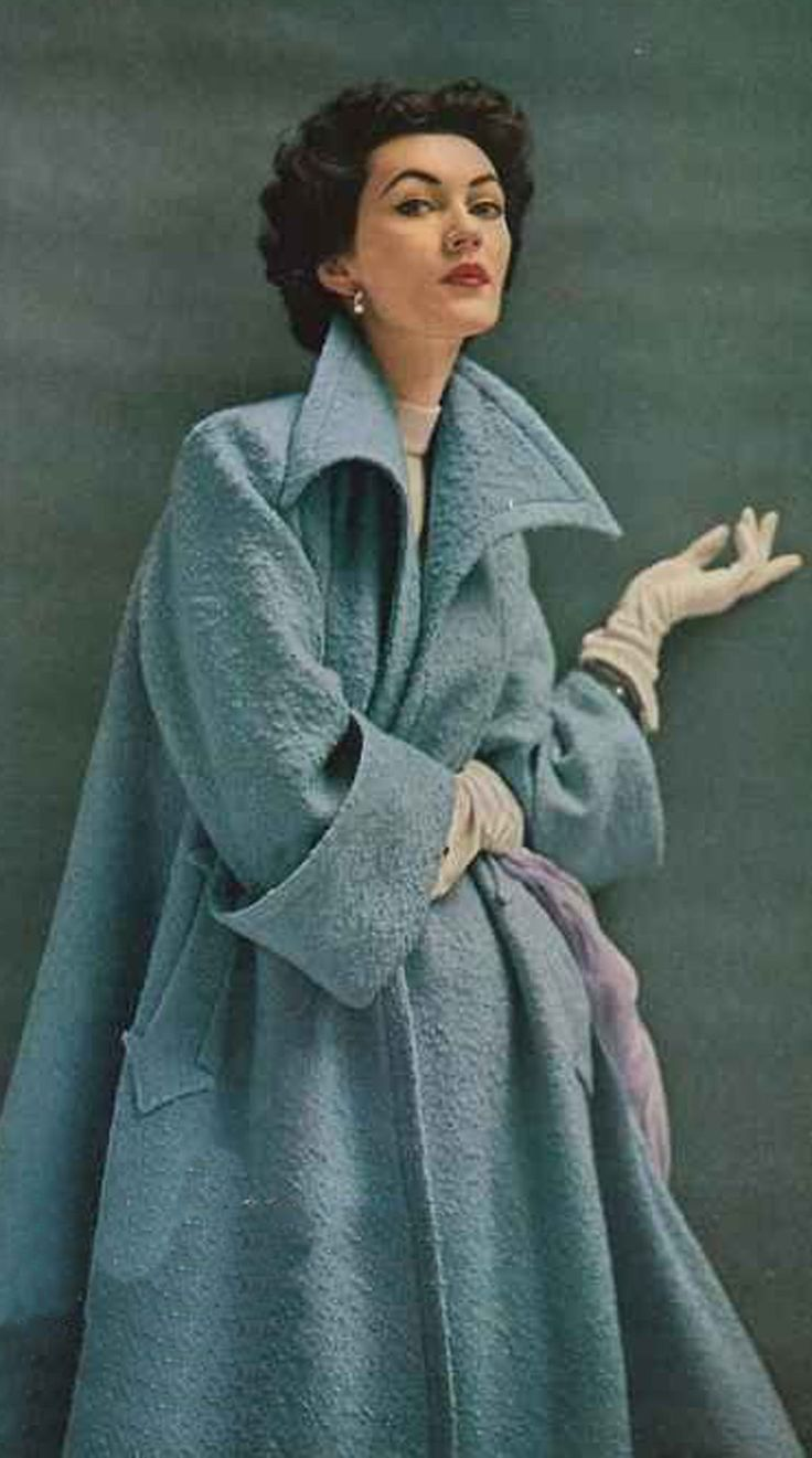 Dovima for Swansdown 1952 50s blue swing back coat print ad Can't tell you how much I adore this coat design!