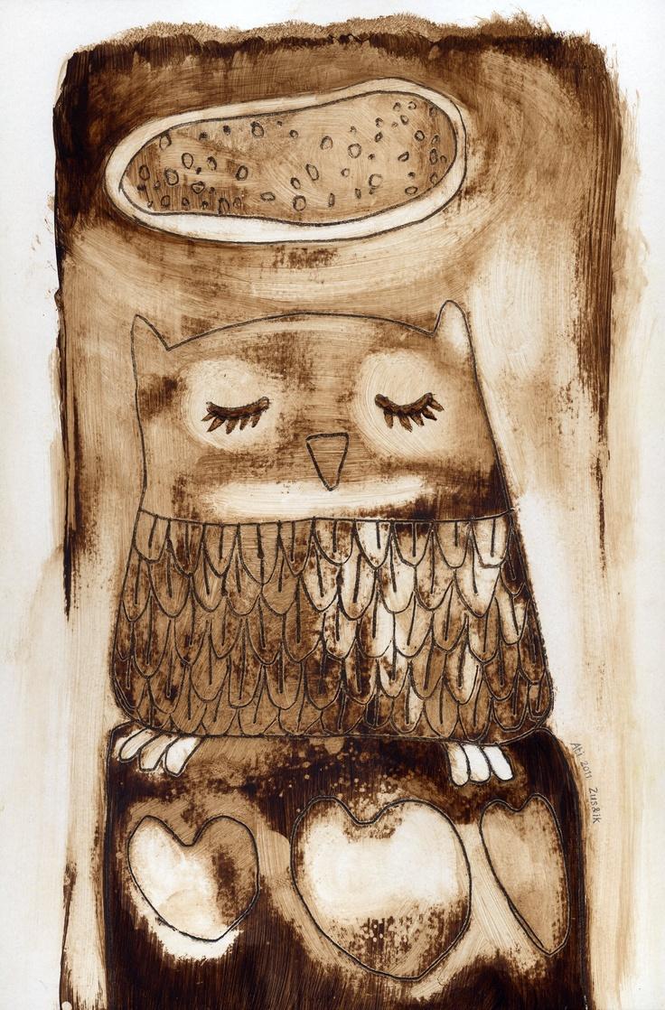 Halo Uil, spijker-illustratie / Halo Owl, nail illustration by Ati van Twillert