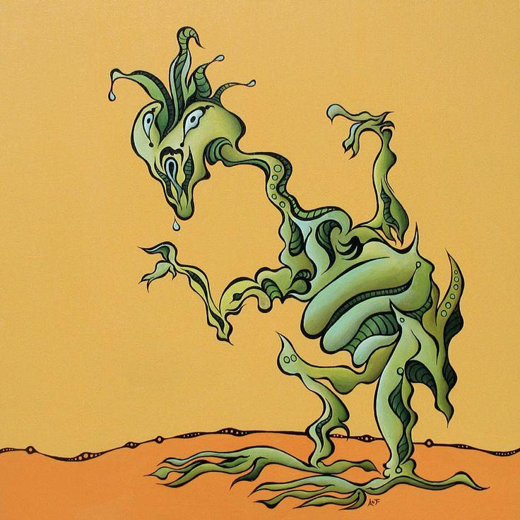 Slimon.   Original art by Amy Ferrari.   Acrylic on Canvas.