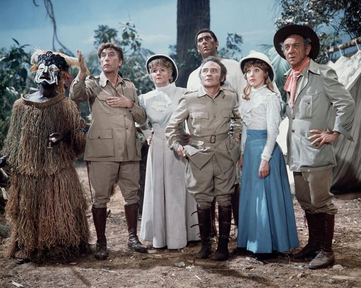 Frankie Howerd, Joan Sims, Kenneth Connor, Bernard Bresslaw, Jacki Piper and Sidney James in Carry On Up The Jungle. 1970
