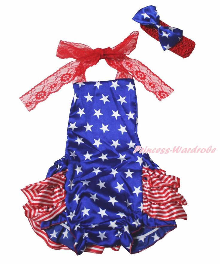 >> Click to Buy << 4th July Dress Halter Backless Sunsuit Star Stripe Ruffle Lace Romper Set NB-24m #Affiliate