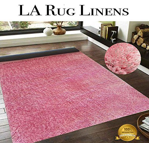 Shimmer Shag Pink Solid Modern Luster Ultra Thick Soft Plush Plain Area Rug 5 X 7