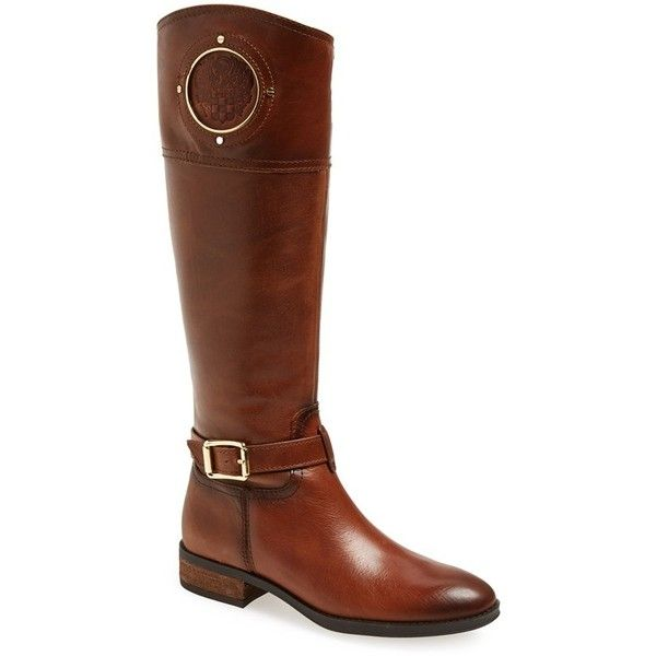 Vince Camuto 'Phillie' Tall Riding Boot ($239) ❤ liked on Polyvore featuring shoes, boots, rich cognac leather, knee high leather boots, real leather riding boots, tall boots, cognac riding boots and equestrian boots