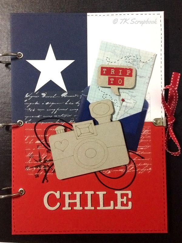 Álbum de fotos em scrapbook com tema viagem para o Chile (visão geral da decoração)
