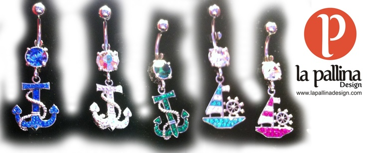 Piercing ombelico: ancora e nave in acciaio con strass  Belly button / navel piercing: ship and anchor in surgical steel with rhinestones