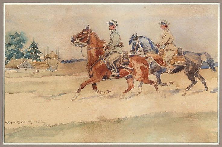 Karol KOSSAK (1895-1975) 'Przejazd ułanów', 1932 r