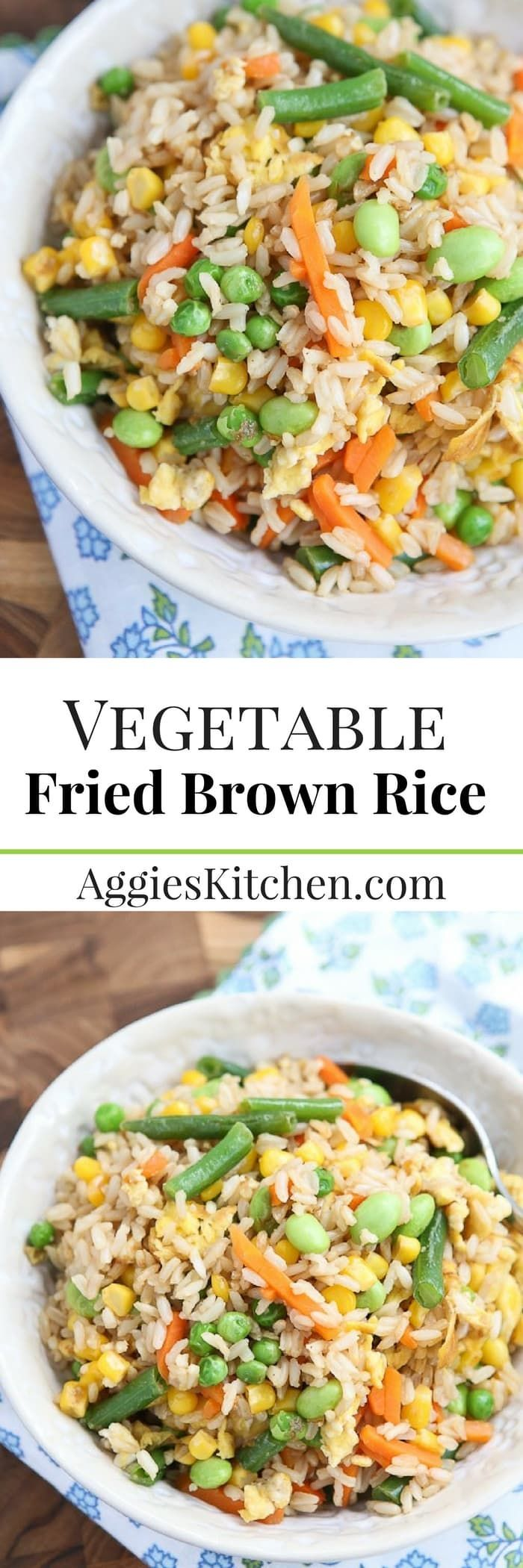 Healthy and quick, this Vegetable Fried Brown Rice comes together with just 5 ingredients. Great for meatless Mondays or busy school nights. via @aggieskitchen
