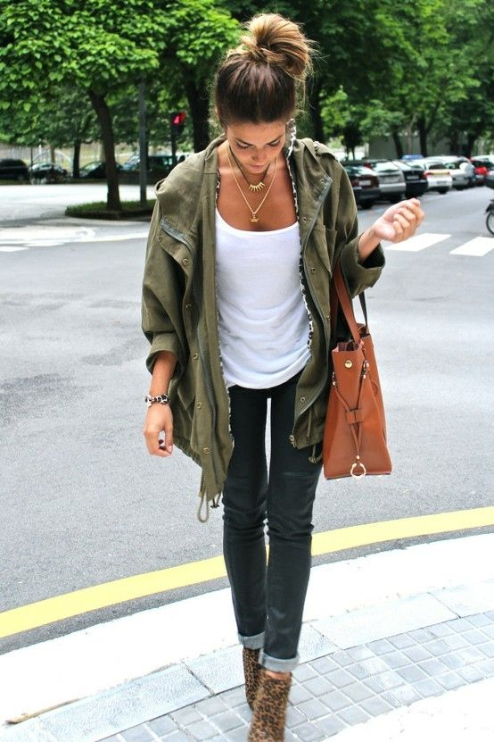 Fall outfit inspoFall Outfit Ideas, Falloutfit, Army Green, Casual Style, Casual Outfit, Street Style, Fallfashion, Fall Fashion, Army Jackets