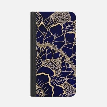 iPhone Wallet Case -  Modern flat gold mandala floral illustration navy blue watercolor by Girly Trend