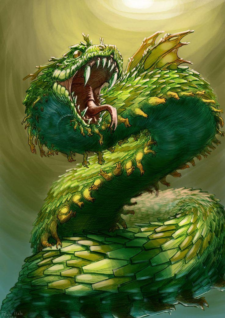 El arte de la fantasía-Impresionante Dragón de la mitología africana.
