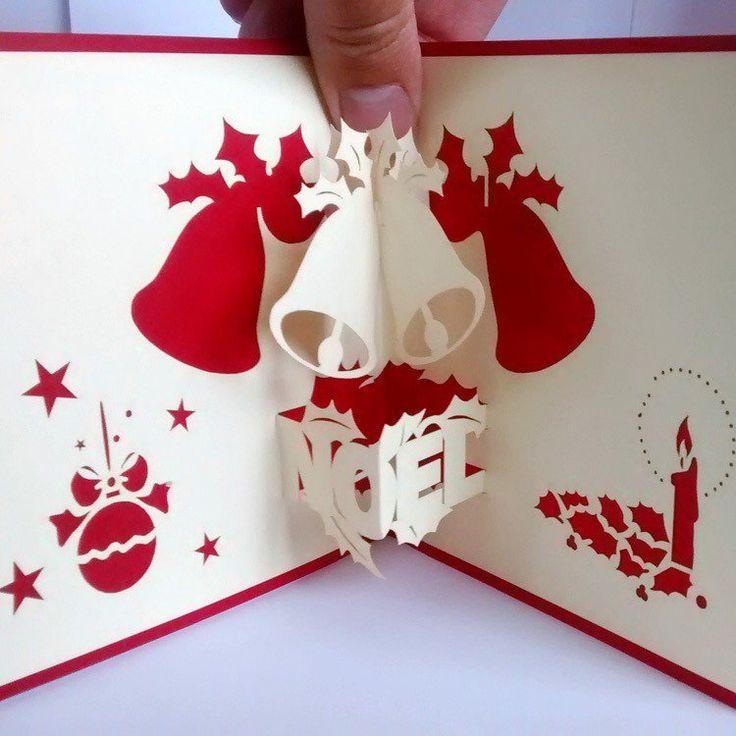 Carte pop up no l fabriquer et d corer soi m me clochette pop et 3d - Carte noel personnalisee ...