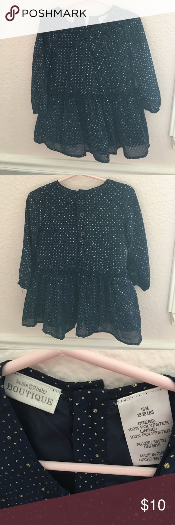 Blue gold sparkly dress Worn once for the holidays. Koala Kids Dresses Formal