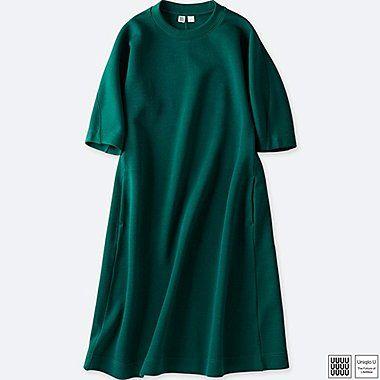 WOMEN U WOOL-BLEND SWEATSHIRT 3/4 SLEEVE DRESS, GREEN, medium