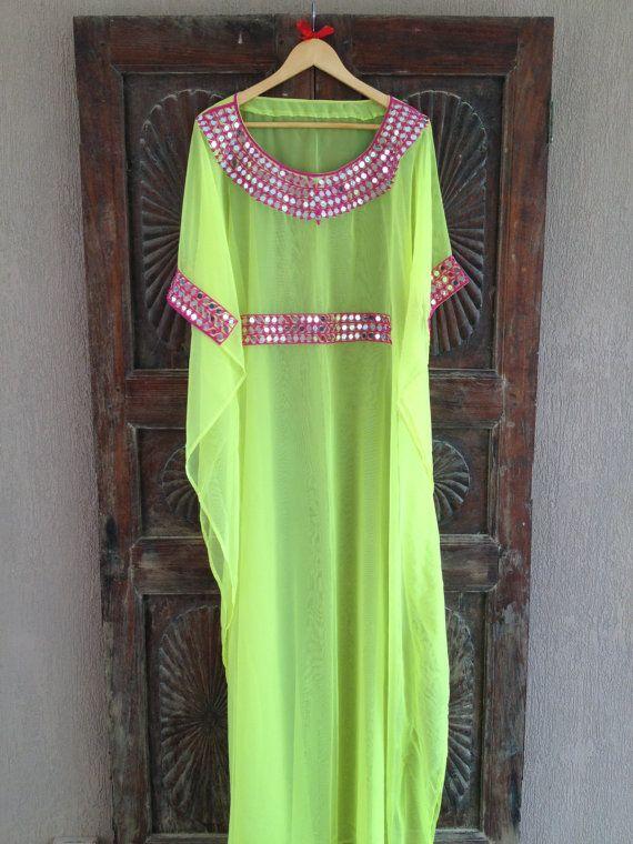 Silk caftan neon maxi dress by ArabianThreads on Etsy, $180.00