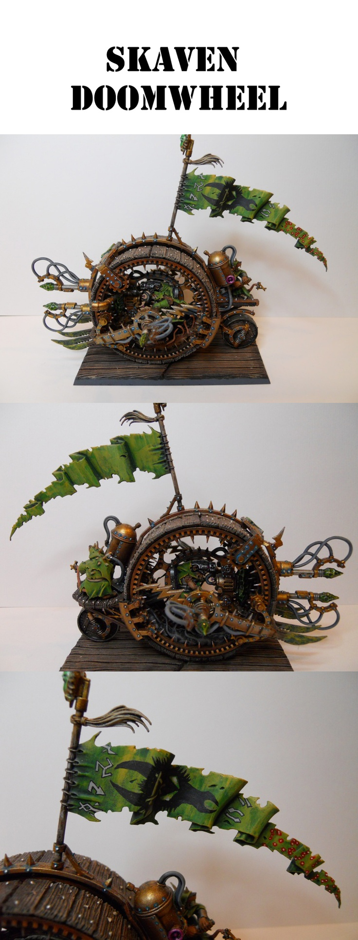 Green themed skaven doomwheel. Not convinced of the colours, but the wood effect and flag are spot on.