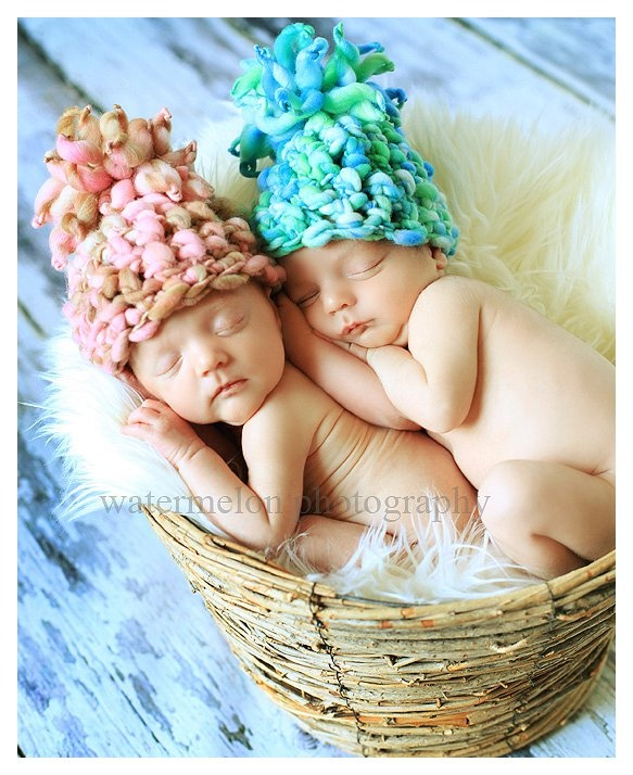 love the twin babies! modeling handspun pom pom crochet baby hats ~photo by Watermelon Photography~ hats by Night Owl Yarn Designs~