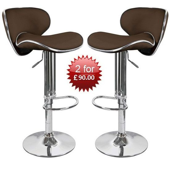 Buy 2 Duo Brown #BarStools With Chrome Base Available In Brown, Black, Red