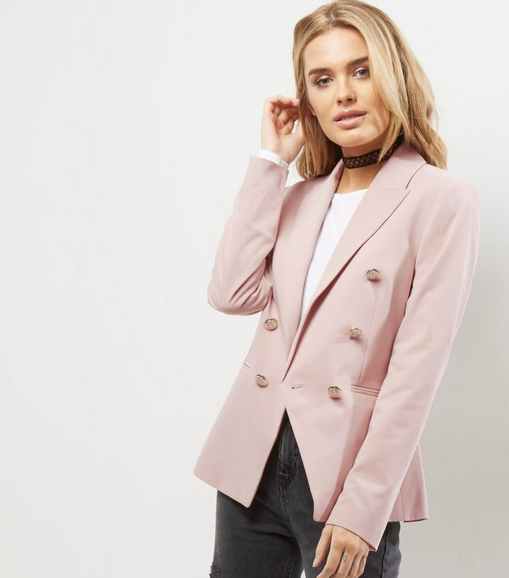 Blazer militaire rose pâle | New Look