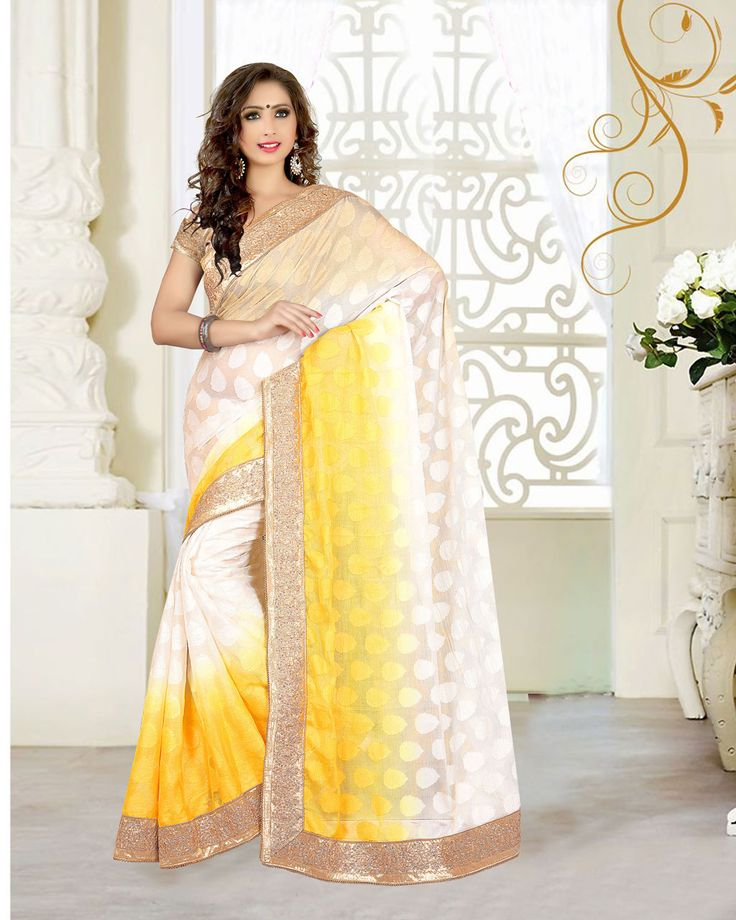 Yellow Georgette Jacquard Wedding Saree 63535  #WeddingSarees #OnlineShopping