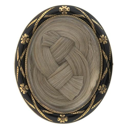 Ornate interwoven blond braid of hair ~ Victorian Mourning Brooch. Back of brooch is hand engraved 1881.