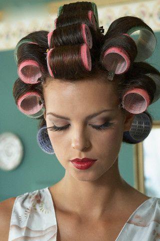 sissy boy in hair rollers pin on lavender