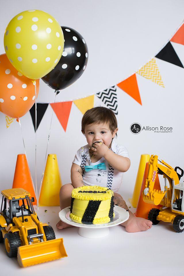 1st Birthday Construction Cake Smash by Allison Rose Photography