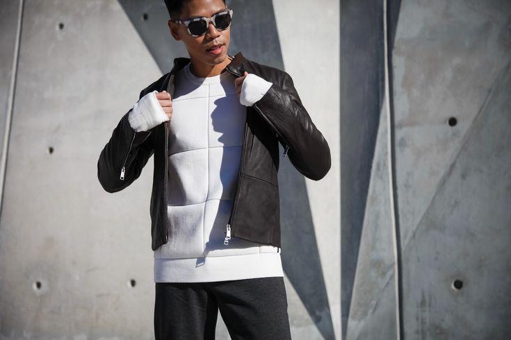 SHOP THE LOOK Armani Exchange Jacket // Armani Exchange Sweater // Armani Exchange Trousers // Unnown (Similar) Sneakers // Neubau Sunglasses