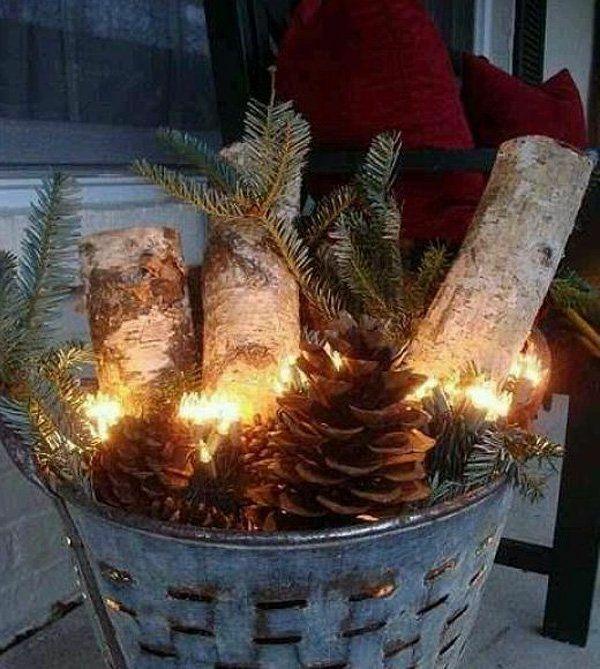 weihnachtsdekoration ideen lichterkette eimer holz