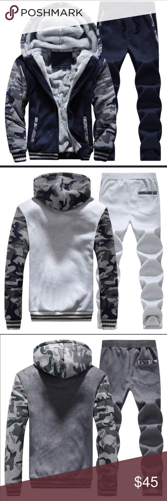 Men warm sports tracksuit Hello my dear friend, before you order it, please check the size details carefully.  This is the Asian size:M,L,XL,XXL,XXXL,4XL It is smaller than US size and EU size, so please check your body size and order plus size will be better and fit correctly. Thanks.  Material:Polyester,Cotton  Set:Hoody + Pant  Color:Gray,Black,Red,Blue,Dark blue  Suit Season:Spring,Autumn, Winter Pants Sweatpants & Joggers