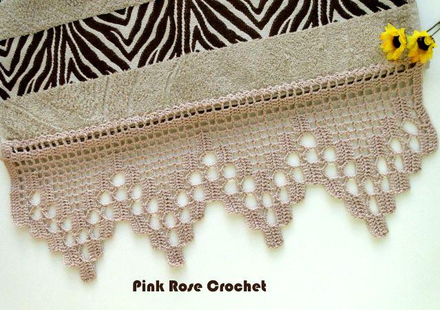 Pink Rose Crochet: Barrado de Crochê Bege para Toalha de Rosto Zebra