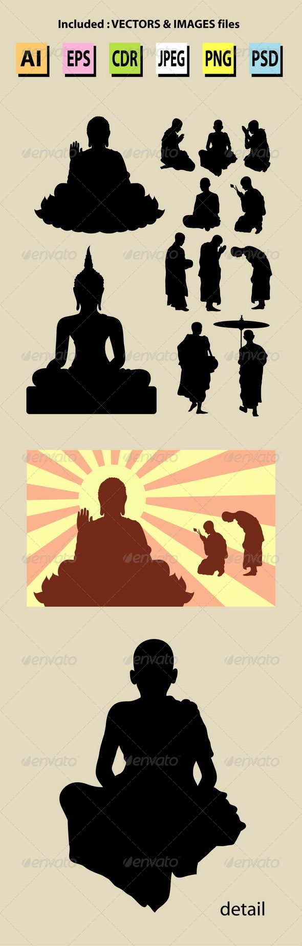 Nice, clean and smooth vector. Monk and Buddha Silhouettes. Easy to use, edit or change color. Good use for sticker, wallpaper, background, or any design you want.