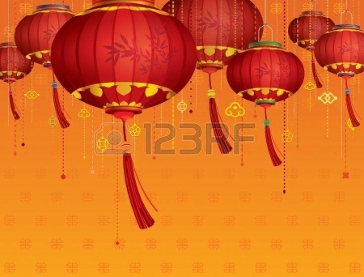 Linternas rojas decoraciones chinas y fondo naranja photo