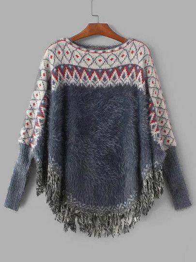 1ef6705ecfb883 Geometric Pattern Fringe Hem Poncho Sweater -SheIn(Sheinside ...