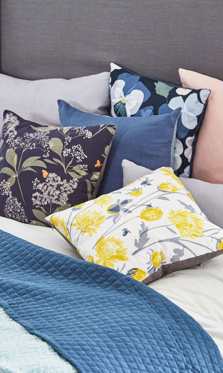 Lorna Syson | Garden Collection Cushion | British Wildlife Inspired Prints:  Chrysanthemum, Pansy And