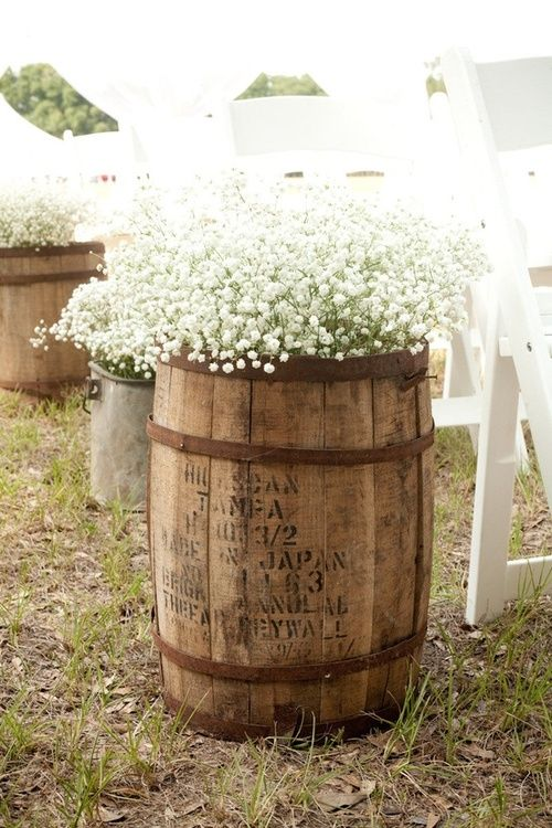 Whiskey barrel planter with baby's breath. Super cute! Would be great with bright colored plants too. Inspiration to plant flowers in random  things!