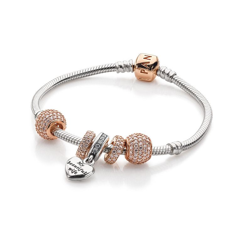pandora silver and rose gold bracelet idea