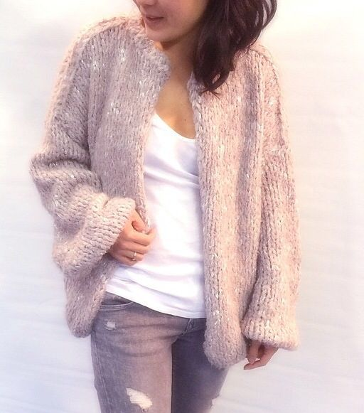 Pink lurex oversized cardigan