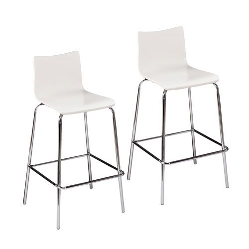 Blence White Barstools, Set Of 2 Bar Height (28 To 36 Inch) Bar Stools Kitchen & Dining F