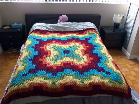 Pattern pdf: Fireworks blanket - granny square, queen size, adjustable sizing, intermediate crochet pattern