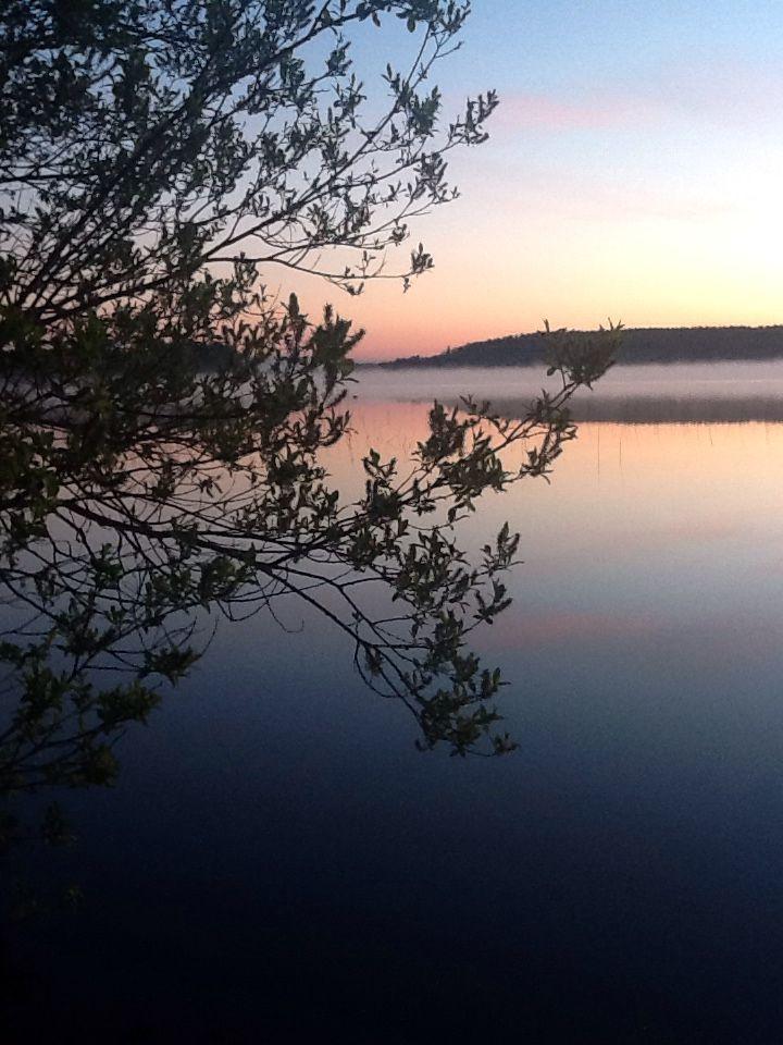 Hazy sunrise in Lake Keitele Finland