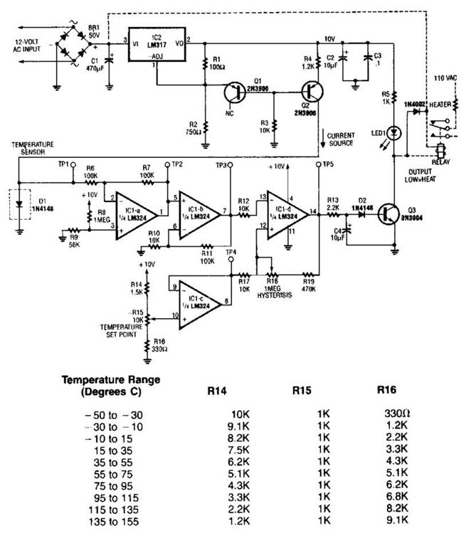 Simple Temperature Sensor Circuit Diagram | Electronic