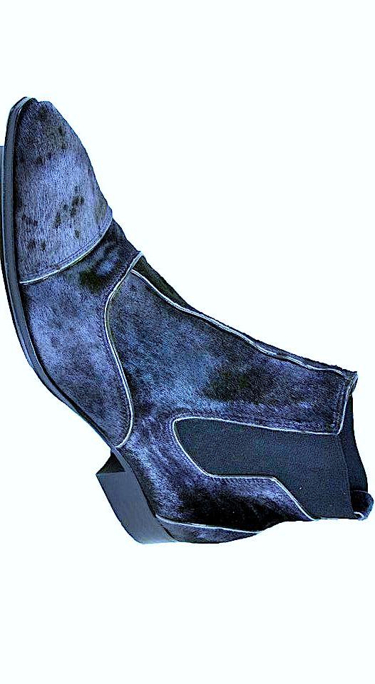 Jo Ghost blue animal hide ankle boot.