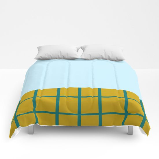 Blue Turquoise Sky and Grid Floor Comforters by BravelyOptimistic | Society6