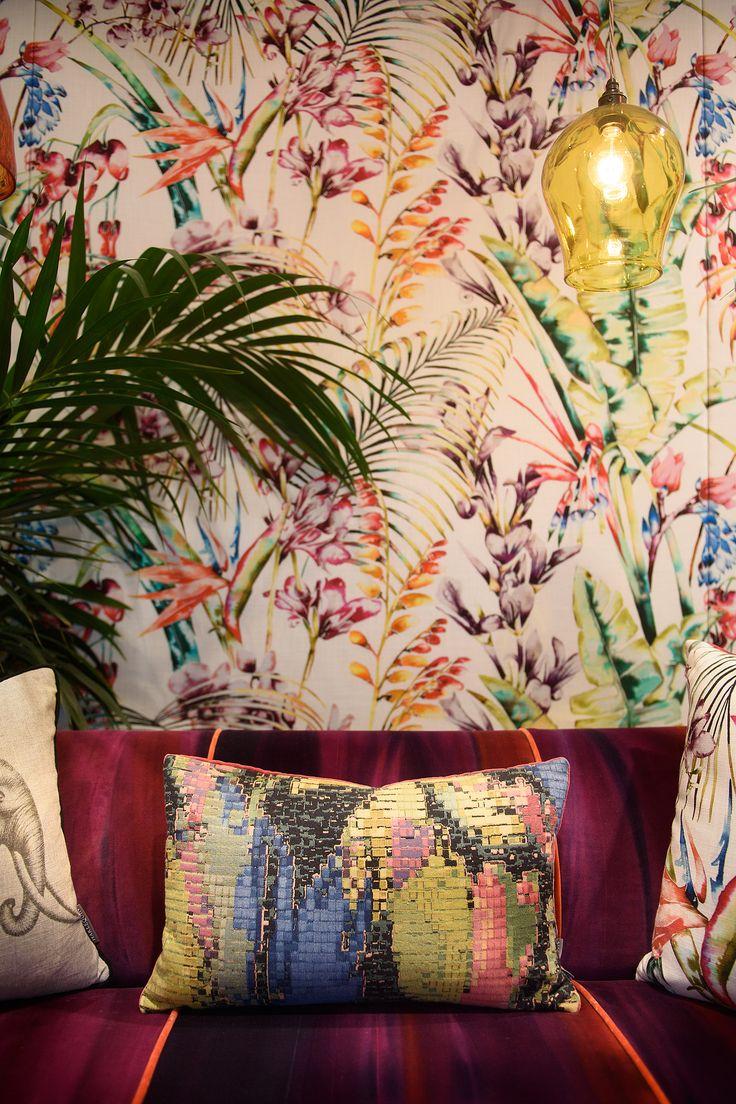 Products harlequin designer fabrics and wallpapers paradise -  Paradise Fabric Drape Background W Accompaniments Amazillia By Harlequin