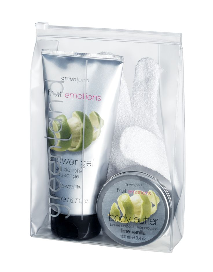 Lime-vanilla giftset: 250ml showergel, 100ml body butter & scrub glove!
