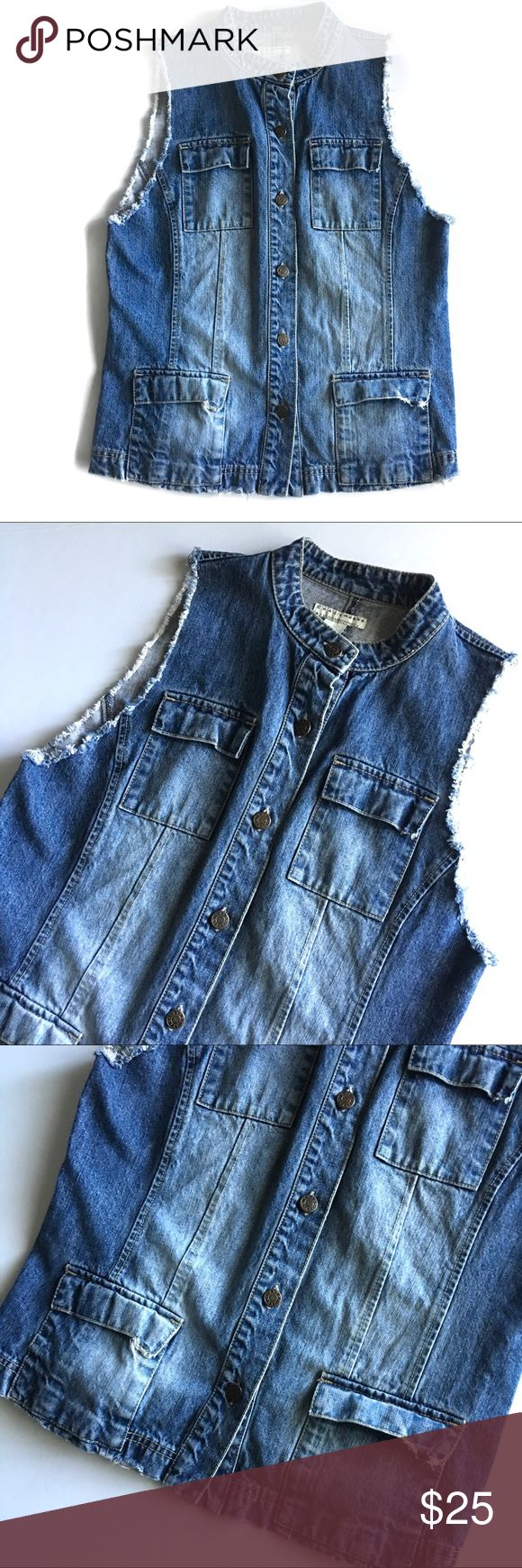 """🌎 Distressed Jean Jacket Vest I4 Factory Distressed Sleeveless Jean jacket vest // Crazy Horse brand // Sz M // 100% Cotton // Frayed edges // Four front pockets // flattering darting in back // 20"""" across armpits // 18.5"""" waist laid flat // 25"""" length // non-smoking home // not my size. Can't model. // Same Day/Next Day Shipping!! // 15.7o // Bundle Discounts Liz Claiborne Jackets & Coats Vests"""