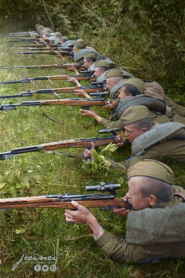 Red Army Snipers training with SVT 40 semi automatic rifles.