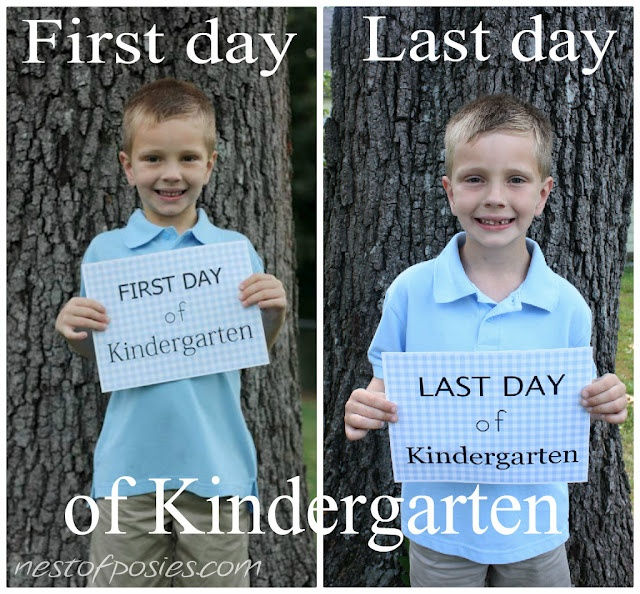 Last day of kindergarten photo sign ~ Free printable for boy/girl. memory